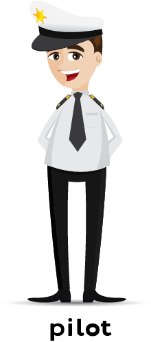 Illustration of a pilot in uniform