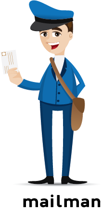 Illustration of a mailman in uniform wearing a letter carrying bag and holding a letter in his hand.