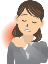 Cartoon woman holding her shoulder and closing her eyes because of pain