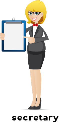 Illustration of a female secretary pointing at a clipboard she's holding