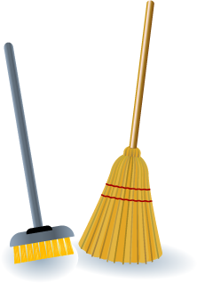 Illustration of two different styles of brooms