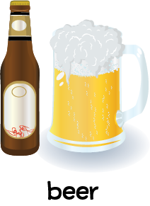 Illustration of a bottle of beer and a glass mug filled with beer.