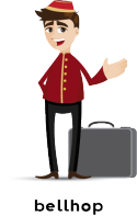 Illustration of bellhop with a suitcase