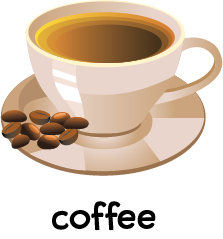 Illustration of cup of coffee decorated with some coffee beans.