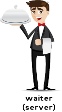 Illustration of waiter carrying a covered food tray