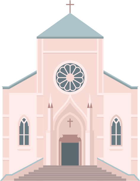 Illustration of the exterior of a church