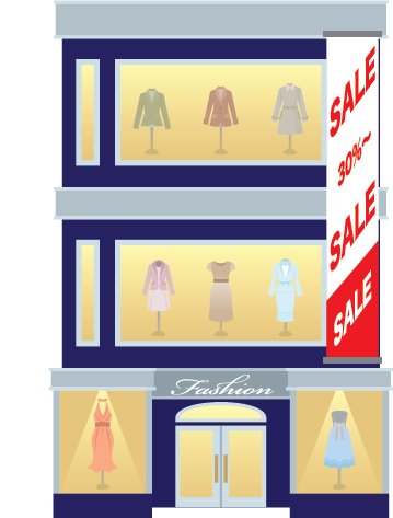Illustration of the exterior of a clothing store