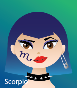 Illustration of head shot of a female with a symbol on her cheek: an M with the scorpion tail stinger (representing Scorpio)