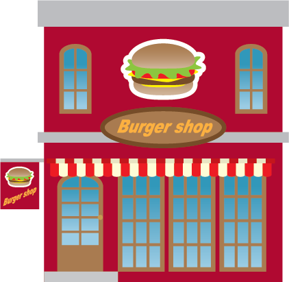 Illustration of the exterior of a burger shop