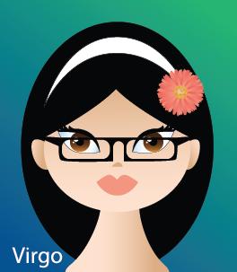 Illustration of head shot of a female  (representing Virgo)