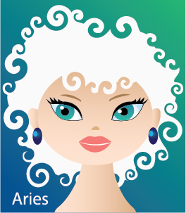 Illustration of head shot of a female with white curly hair like a ram (representing Aries)