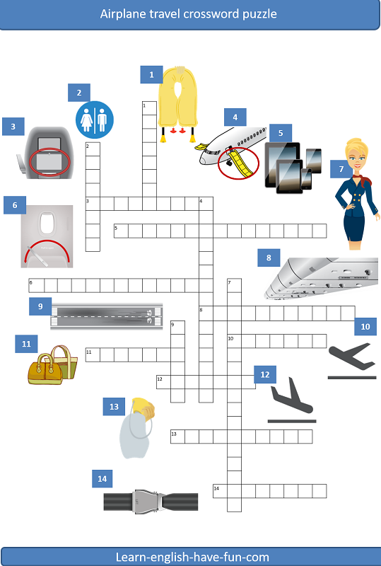 Thumbnail picture of airline vocabulary crossword puzzle