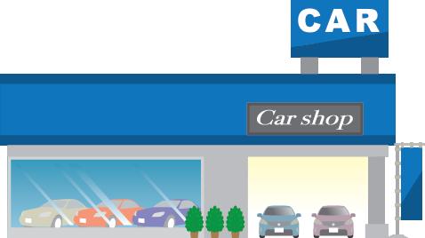 Illustration of a car shop dealership and garage