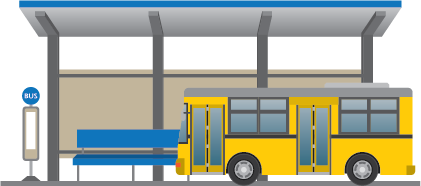 Illustration of a bus in front of a bus station