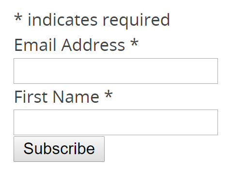 Image showing email and name entry fields to signup for newsletter