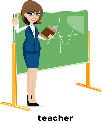 Illustration of a teacher in front of a chalkboard.