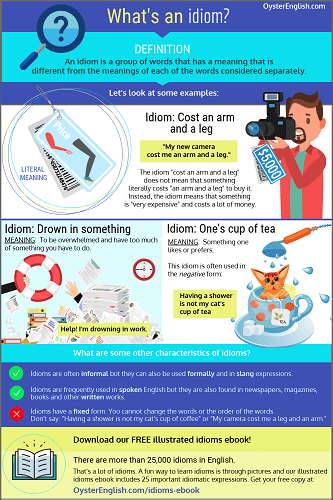 Infographic about what an idiom is with examples