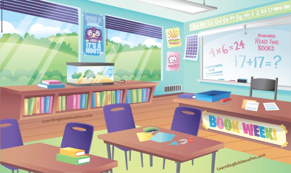 Illustration of a school classroom