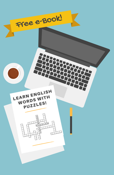 Illustration of a laptop, sheets of paper with crossword puzzles and a coffee cup with the advertisement
