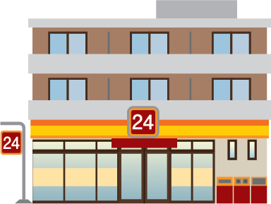 Illustration of the exterior of a 24-hour minimart store