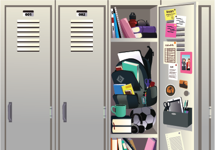 Image of a row of lockers. One is open and has three shelves filled with books, a backpack and papers.