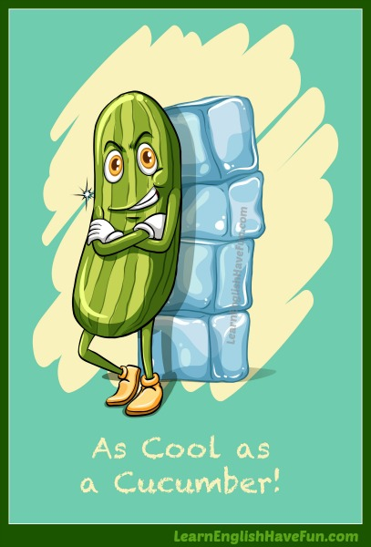 A cartoon cucumber character leaning against some ice cubes.