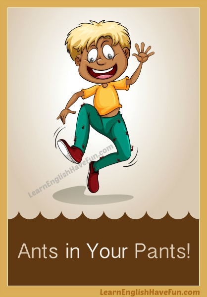 Boy jumping anxiously because ants are crawling all over his pants.