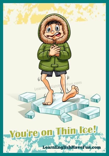 A cartoon man wearing a winter parka walking on a broken piece of ice.