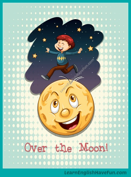 A happy, smiling cartoon boy is jumping over a happy, smiling moon to illustrate the idiom over the moon.