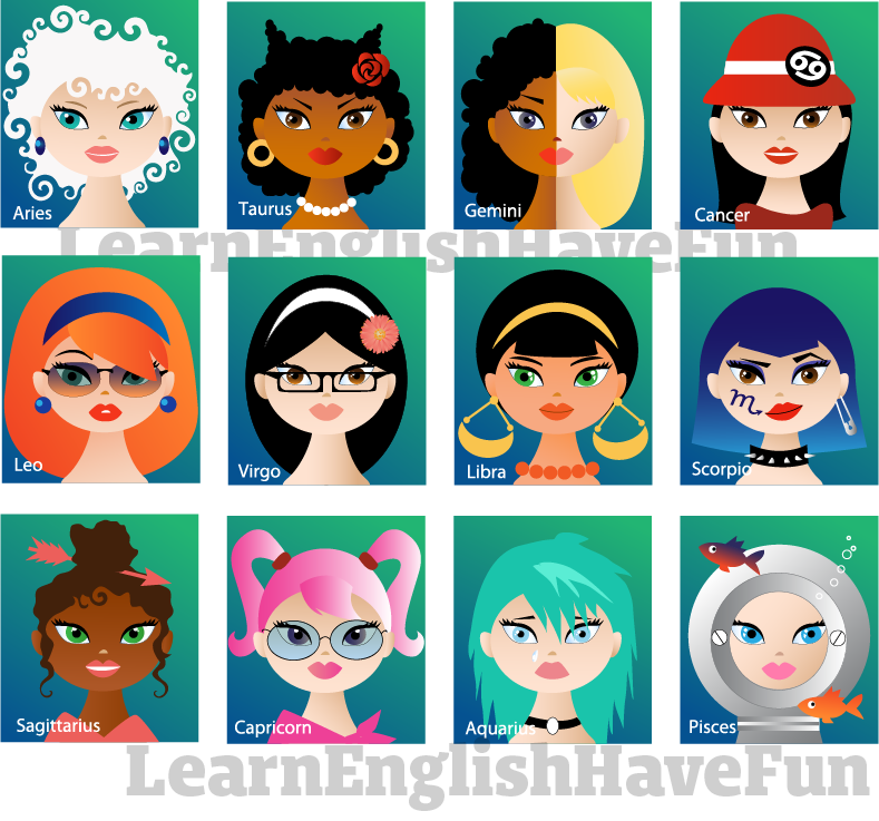 Collage of female cartoon characters as the 12 zodiac or astrology signs.