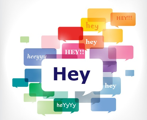 An image with many different speech bubbles with the words hey written in different combinations: hey, HEY, heyyyy, heYyYy, etc. to show different tone, pitch, stress, etc.