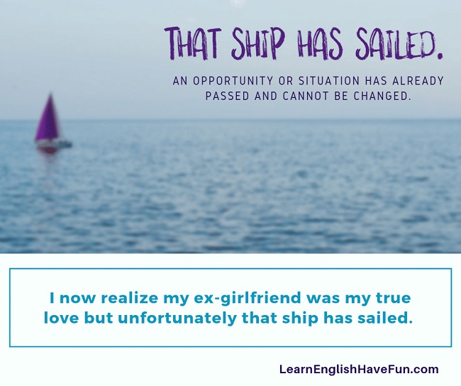 Image of a sailboat in the distance in the ocean representing the idiom