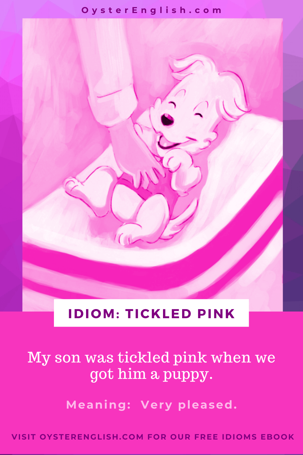 A pink colored image of hand tickling the stomach of a laughing puppy with the caption: