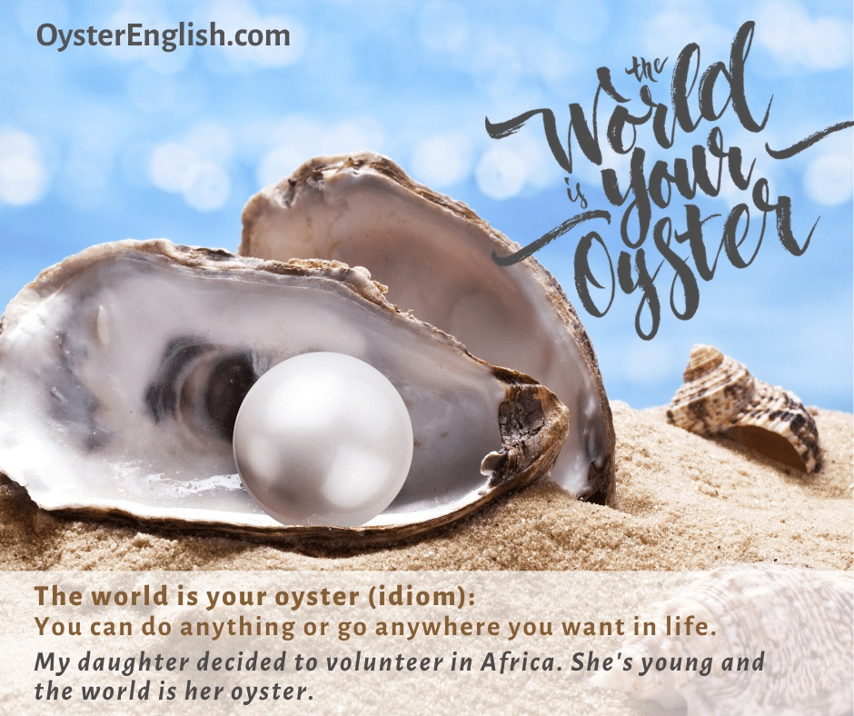 An oyster on the beach with a pearl inside. The idiom