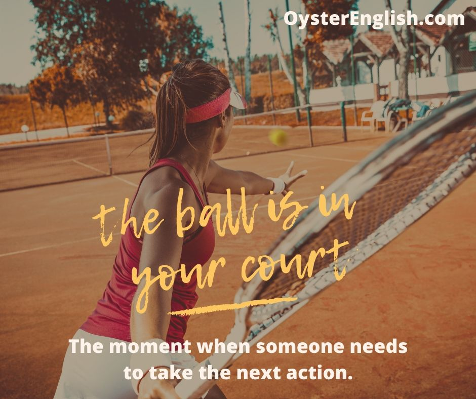 Picture of a female tennis player about to hit a tennis ball. The text says,