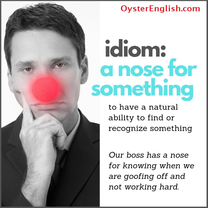Image of man with red clown nose with definition and example of the idiom