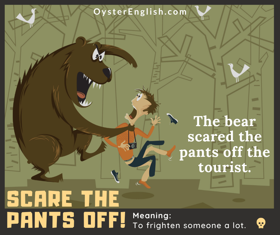 A huge, scary cartoon bear is grabbing a tourist by the neck in the woods. The tourist is so scared and terrified his pants and shoes are flying off his body.