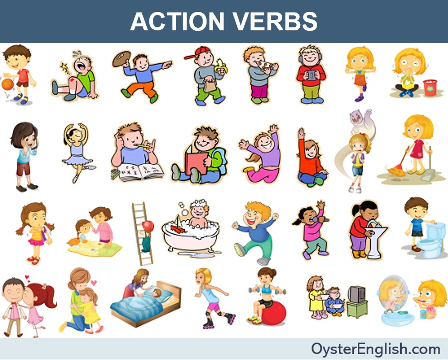 A collage of pictures of children doing various activities to depict each action verb listed on this page.