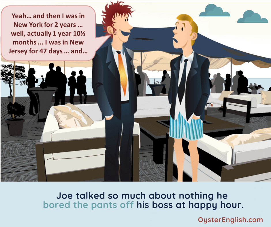 A man is talking to another man at a Happy Hour party, who's wearing colorful boxer shorts instead of pants.