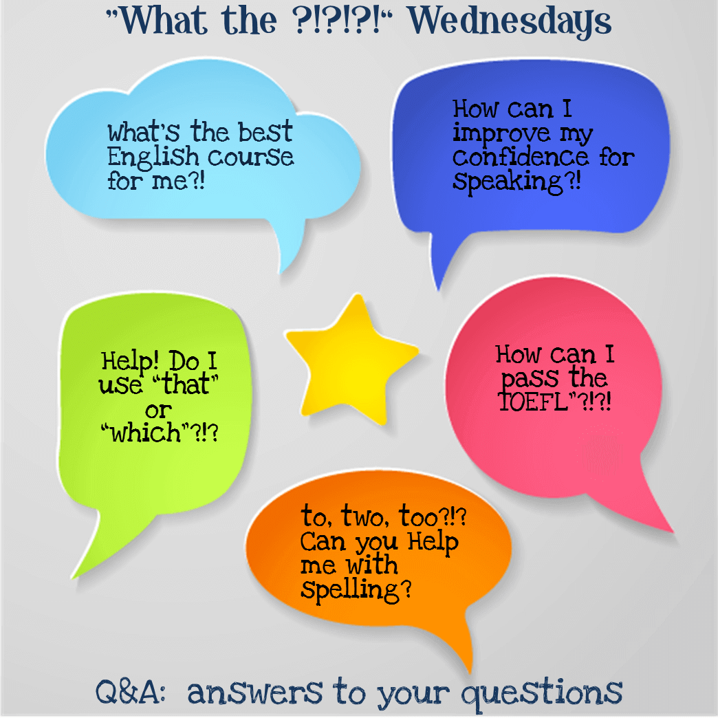 Speech bubbles with sample questions, such as,