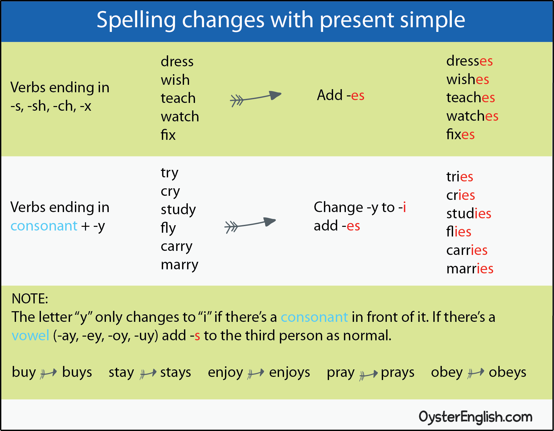 Chart showing how to form the spelling changes for the present simple