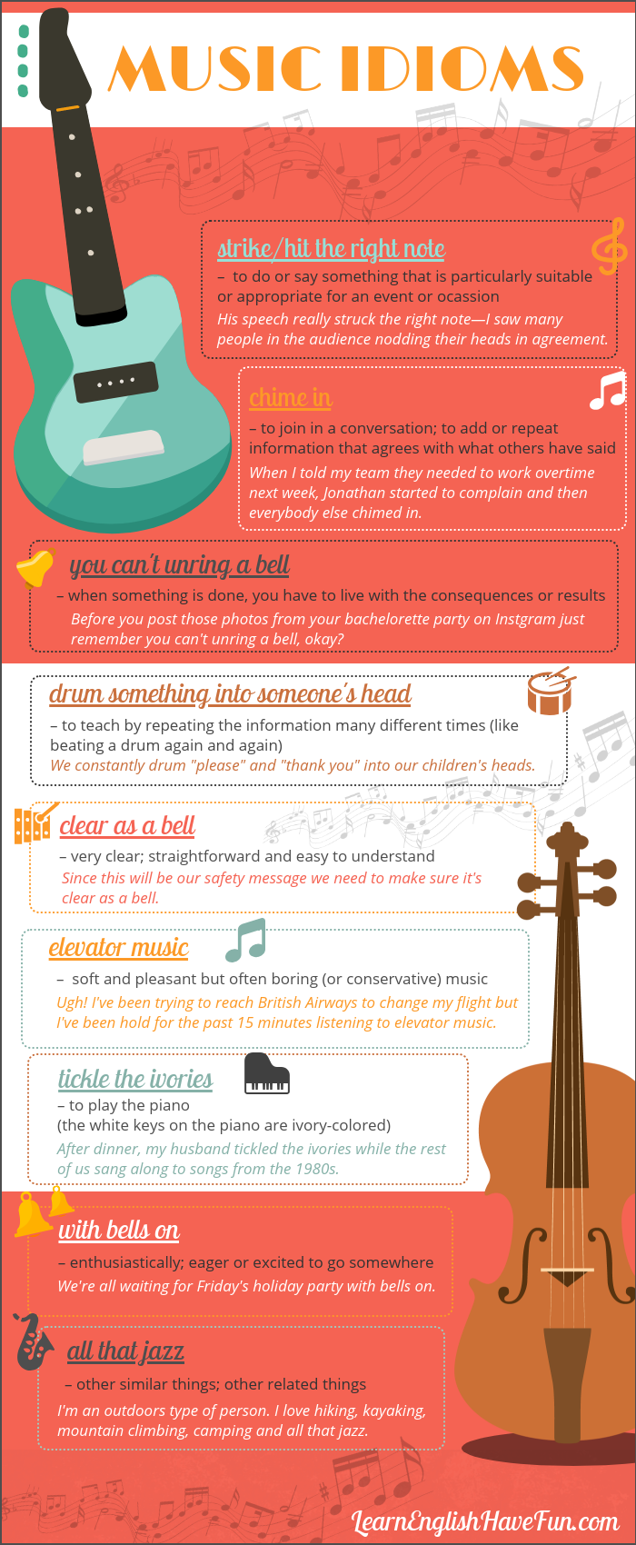 An infographic showing the 10 idioms featured on this webpage with definitions and sentence examples.