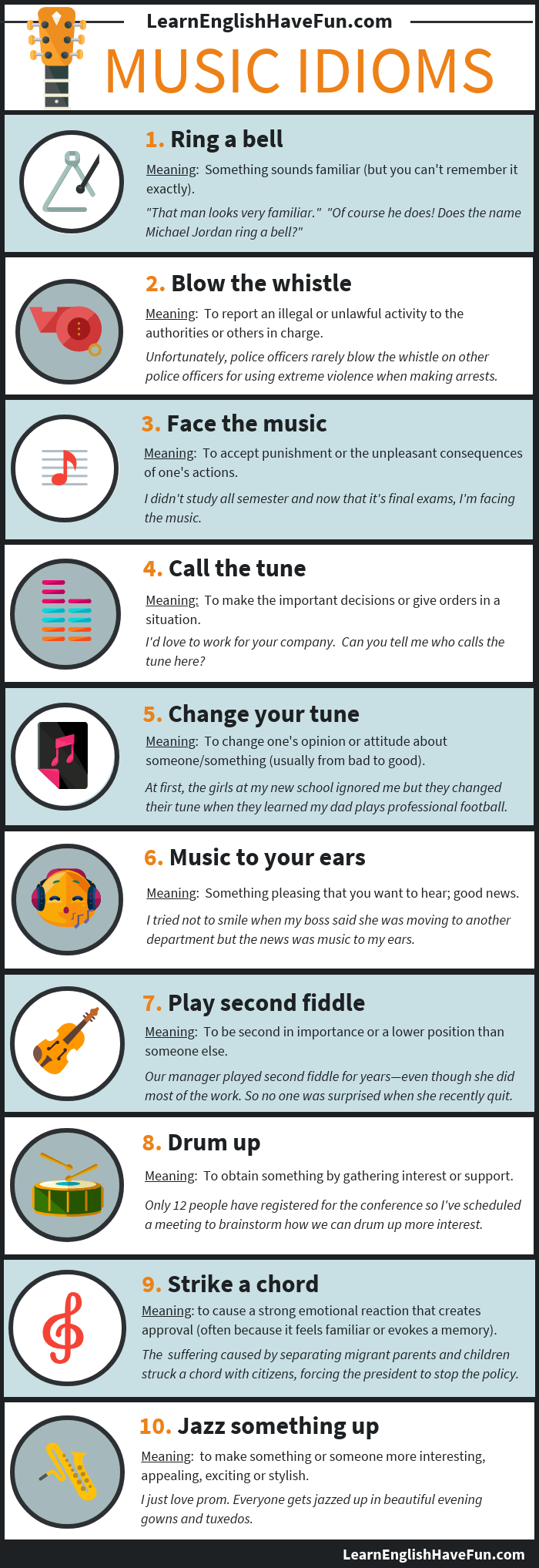 An infographic showing the 10 idioms listed on this webpage with definitions and sentence examples