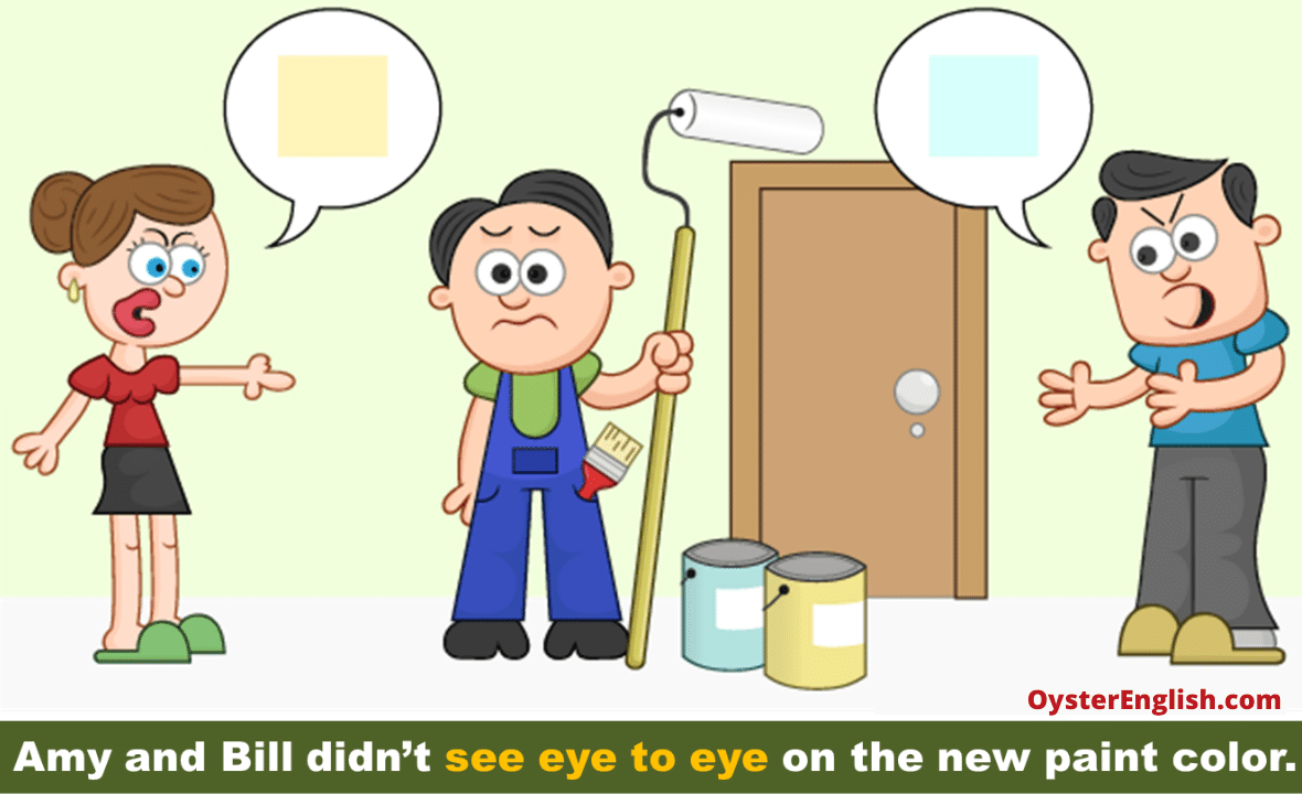 A confused painter stands between a wife who wants the walls painted yellow and a husband who wants them to be painted blue. Caption: Amy and Bill didn't see eye to eye on the new paint color.