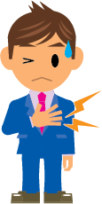 A cartoon man clutching his chest with his hand because of pain
