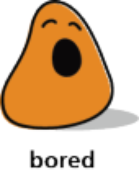 Cartoon blob shape that looks bored