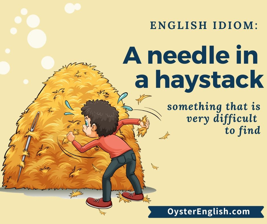 Image of a cartoon boy searching for a needle in a huge stack of hay, illustrating the meaning of the idiom that