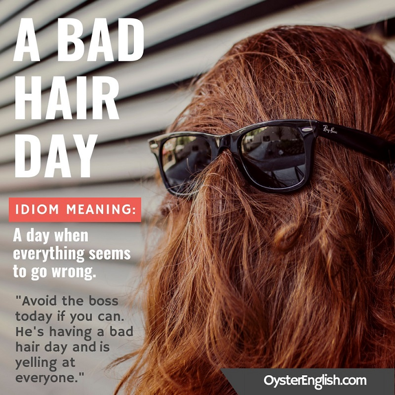 Image of a woman's hair combed completely covering her face with sunglasses on top with a sentence example: