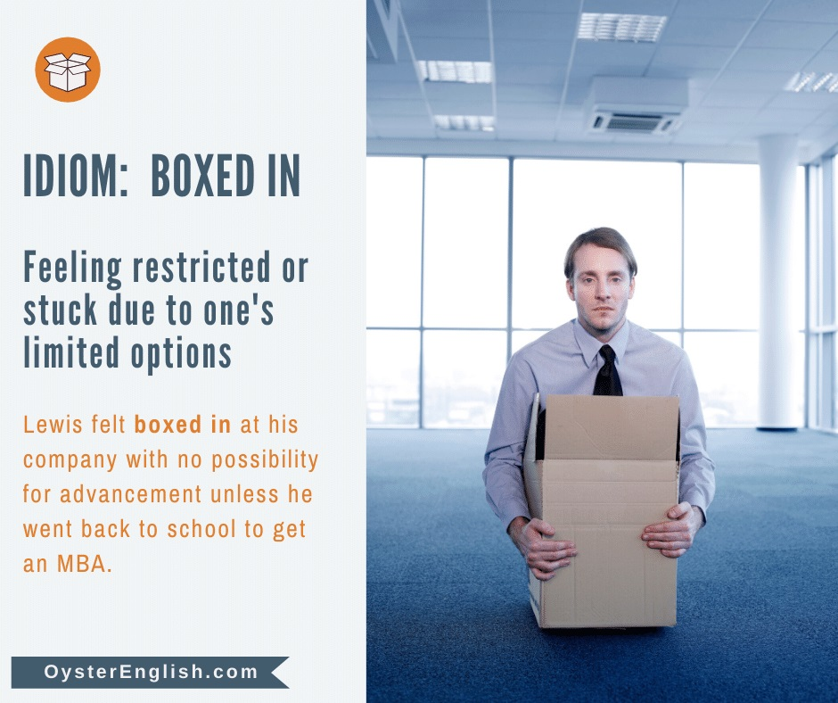 Man sitting inside a box illustrates the concept of the idiom that being boxed in feels as if you are restricted with limited options.