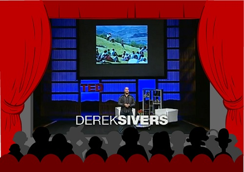 Derek Sivers giving on stage giving his TED Talk